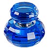Diffuser, glass / foam / silver-finished brass, blue, 3-1/4 x 2-3/4 inch faceted round. Sold individually.