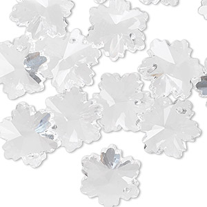 Drop, Celestial Crystal®, clear, 14x13mm faceted snowflake. Sold per pkg of 16.