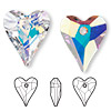Drop, Swarovski crystal, Crystal Passions®, crystal AB, 27x22mm faceted wild heart pendant (6240). Sold per pkg of 6.