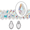 Drop, Swarovski crystal, Crystal Passions®, crystal AB, 9x5mm faceted briolette pendant (6007). Sold per pkg of 2.