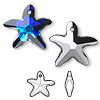 Drop, Swarovski crystal, Crystal Passions®, crystal Bermuda blue P, 21x20mm faceted starfish pendant (6721). Sold individually.