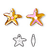 Drop, Swarovski crystal, Crystal Passions®, crystal astral pink, 17x16mm faceted starfish pendant (6721). Sold individually.