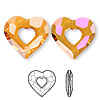 Drop, Swarovski crystal, Crystal Passions®, crystal astral pink, 27x26mm faceted Miss U Heart pendant (6262). Sold per pkg of 4.