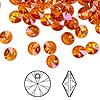 Drop, Swarovski crystal, Crystal Passions®, crystal astral pink, 6mm Xilion rivoli pendant (6428). Sold per pkg of 144 (1 gross).