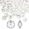 Drop, Swarovski crystal, Crystal Passions®, crystal clear, 6mm Xilion rivoli pendant (6428). Sold per pkg of 144 (1 gross).
