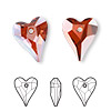 Drop, Swarovski crystal, Crystal Passions®, crystal red magma, 17x14mm faceted wild heart pendant (6240). Sold per pkg of 12.