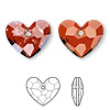 Drop, Swarovski crystal, Crystal Passions®, crystal red magma, 18x15mm faceted Truly in Love Heart pendant (6264). Sold individually.
