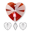 Drop, Swarovski crystal, Crystal Passions®, crystal red magma, 28x28mm Xilion heart pendant (6228). Sold individually.