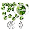 Drop, Swarovski crystal, Crystal Passions®, fern green, 6mm Xilion rivoli pendant (6428). Sold per pkg of 144 (1 gross).