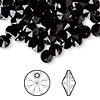 Drop, Swarovski crystal, Crystal Passions®, jet, 6mm Xilion rivoli pendant (6428). Sold per pkg of 144 (1 gross).