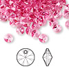 Drop, Swarovski crystal, Crystal Passions®, rose, 6mm Xilion rivoli pendant (6428). Sold per pkg of 144 (1 gross).