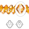 Drop, Swarovski crystal, Crystal Passions®, topaz, 8mm faceted bicone pendant (6301). Sold per pkg of 144 (1 gross).