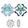 Drop, Swarovski crystal, crystal AB, 23mm faceted clover pendant (6764). Sold per pkg of 24.