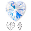 Drop, Swarovski crystal, crystal AB, 28x28mm Xilion heart pendant (6228). Sold per pkg of 16.