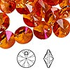 Drop, Swarovski crystal, crystal astral pink, 12mm Xilion rivoli pendant (6428). Sold per pkg of 144 (1 gross).