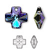 Drop, Swarovski crystal, crystal heliotrope, 20x20mm faceted cross pendant (6866). Sold per pkg of 72.
