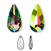 Drop, Swarovski crystal, crystal vitrail medium, 24x12mm faceted teardrop pendant (6100). Sold per pkg of 36.