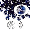 Drop, Swarovski crystal, dark indigo, 6mm Xilion rivoli pendant (6428). Sold per pkg of 144 (1 gross).