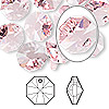 Drop, Swarovski crystal, light rose, 12x12mm faceted octagon pendant (6401). Sold per pkg of 144 (1 gross).