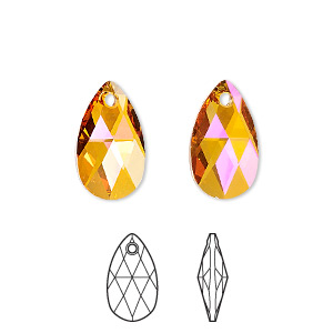 Drop, Swarovski® crystals, Crystal Passions®, crystal astral pink, 16x9mm faceted pear pendant (6106). Sold individually.