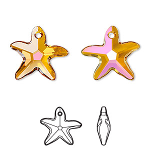 Drop, Swarovski® crystals, Crystal Passions®, crystal astral pink, 17x16mm faceted starfish pendant (6721). Sold individually.