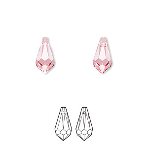 Drop, Swarovski® crystals, Crystal Passions®, rose, 11x5.5mm faceted teardrop pendant (6000). Sold per pkg of 2.