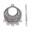 "Drop, antiqued silver-finished ""pewter"" (zinc-based alloy), 27mm single-sided filigree round with 5 loops. Sold per pkg of 500."