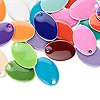 Drop mix, epoxy and silver-plated brass, mixed colors, 14x8mm double-sided oval. Sold per pkg of 40.