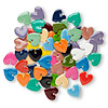 Drop mix, epoxy and silver-plated brass, mixed colors, 16x16mm double-sided heart. Sold per pkg of 40.