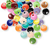 Drop mix, epoxy and silver-plated brass, mixed colors, 6mm double-sided round. Sold per pkg of 120.