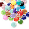 Drop mix, epoxy and silver-plated brass, mixed colors, 8mm double-sided round. Sold per pkg of 40.
