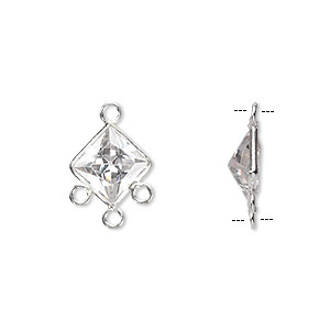 Drop, sterling silver and cubic zirconia, clear, 12x12mm faceted diamond with 3 loops. Sold per pkg of 2.