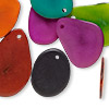 Drop, tagua nut (dyed), assorted colors, 26x20mm-33x24mm flat teardrop. Sold per pkg of 10.