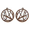 Drop, wood (natural), 25mm single-sided left- and right-facing flat round with cutout branches design. Sold per pkg of 2.