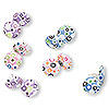 Earring mix, fabric, multicolored swirls, 19mm round posts. Sold per pkg of 6 pairs.