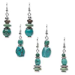 Earring mix, magnesite (dyed / stabilized) and silver-finished steel, blue / green / brown, 44x12mm-53x14mm dangle, fishhook earwire. Sold per pkg of 3 pairs.