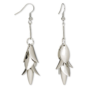 Earring, silver-plated steel, 3-1/8 inches with hanging flower and fishhook earwire. Sold per pair.