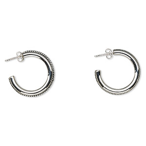 Earring, sterling silver, 26mm round hoop with twisted wire design and earstud back. Sold per pair.