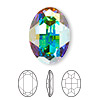 Embellishment, Swarovski crystal rhinestone, Crystal Passions®, crystal AB, foil back, 30x22mm faceted oval fancy stone (4127). Sold individually.