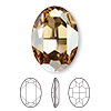 Embellishment, Swarovski crystal rhinestone, Crystal Passions®, crystal golden shadow, foil back, 30x22mm faceted oval fancy stone (4127). Sold per pkg of 4.