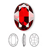 Embellishment, Swarovski crystal rhinestone, Crystal Passions®, crystal red magma, foil back, 30x22mm faceted oval fancy stone (4127). Sold individually.