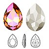 Embellishment, Swarovski crystal rhinestone, Crystal Passions®, crystal astral pink, foil back, 30x20mm faceted pear fancy stone (4327). Sold individually.