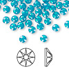 Flat back, Swarovski crystal rhinestone, Caribbean blue opal, foil back, 4.6-4.8mm Xilion rose (2028), SS20. Sold per pkg of 144 (1 gross).
