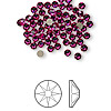 Flat back, Swarovski crystal rhinestone, Crystal Passions®, fuchsia, foil back, 3-3.2mm Xilion rose (2058), SS12. Sold per pkg of 144 (1 gross).