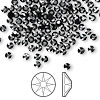 Flat back, Swarovski crystal rhinestone, Crystal Passions®, jet hematite, foil back, 3-3.2mm Xilion rose (2058), SS12. Sold per pkg of 144 (1 gross).