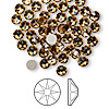 Flat back, Swarovski crystal rhinestone, Crystal Passions®, light Colorado topaz, foil back, 4.6-4.8mm Xilion rose (2058), SS20. Sold per pkg of 144 (1 gross).