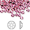 Flat back, Swarovski crystal rhinestone, Crystal Passions®, rose, foil back, 4.6-4.8mm Xilion rose (2058), SS20. Sold per pkg of 144 (1 gross).
