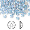 Flat back, Swarovski crystal rhinestone, air blue opal, foil back, 4.6-4.8mm Xilion rose (2058), SS20. Sold per pkg of 144 (1 gross).
