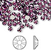 Flat back, Swarovski crystal rhinestone, amethyst, foil back, 3.8-4mm Xilion rose (2058), SS16. Sold per pkg of 144 (1 gross).