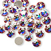 Flat back, Swarovski crystal rhinestone, crystal AB, foil back, 7.07-7.27mm Xilion rose (2058), SS34. Sold per pkg of 144 (1 gross).